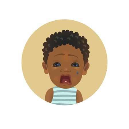 Lindo emoticon de bebé llorando afroamericano. Emoji de niño africano lloroso. Smiley de niño de piel oscura llorando. Ilustración aislada del vector del avatar de la expresión facial dolorosa