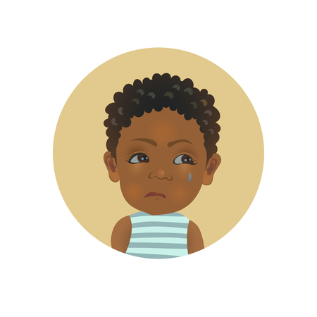 Resentful Afro American child emoticon. Cute African offended baby emoji. Discontent dark-skinned toddler smiley facial expression avatar. Isolated vector illustration