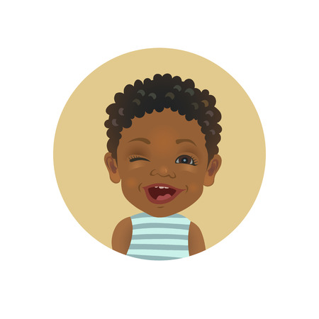 Winking Afro American child. Playful African toddler emoticon. Cute dark-skinned baby facial expression isolated vector illustration.
