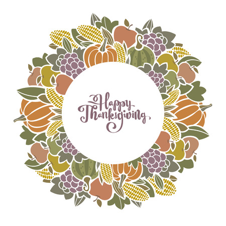Autumn harvest decorative  frame with fruit and vegetables. Happy Thanksgiving design with space for your text
