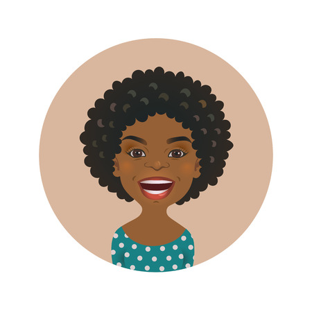 Cute Afro American woman happy facial expression. Smiling African girl avatar. Black skin cheerful person. Dark-skinned smiling cartoon model face isolated vector illustration