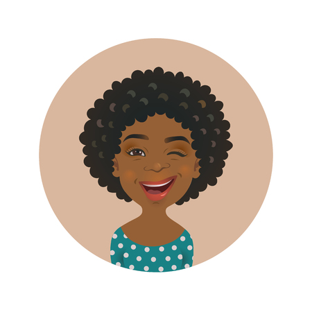 Winking Afro American woman avatar. Playful African face emoticon. Cute dark-skinned girl facial expression isolated vector illustration.