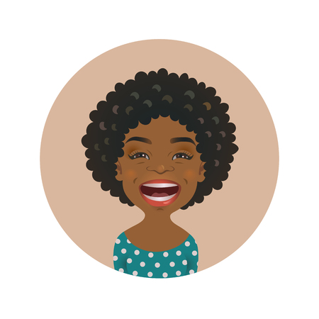 Laughing Afro American woman avatar. African girl laugh emoticon. Cute black skin cheerful smiling person. Dark-skinned lol facial expression vector illustration
