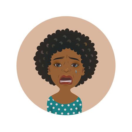 Avatar de mujer llorando afroamericana linda. Niña africana llorosa. Modelo de dibujos animados de piel oscura llorando. Ilustración aislada del vector de la expresión facial dolorosa