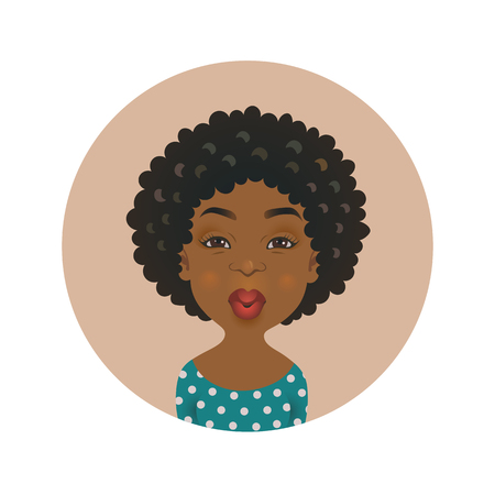 Cute Afro American kissing woman avatar. African girl love facial expression. Dark-skinned flirting person. Black skin cartoon model giving an air kiss isolated vector illustration.