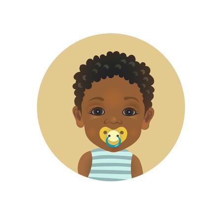 Bébé afro-américain mignon avec une émoticône de sucette. Enfant africain avec un emoji de tétine. Enfant à la peau foncée avec avatar d'expression faciale factice illustration vectorielle isolée. Vecteurs