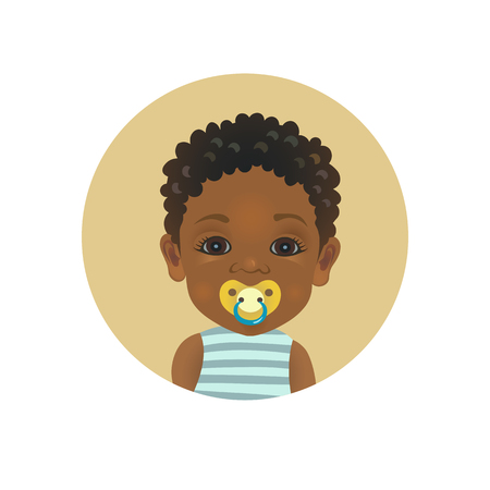 Cute Afro American baby with a soother emoticon. African child with a pacifier emoji. Dark-skinned toddler with dummy facial expression avatar isolated vector illustration.