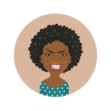 Afro American angry woman face avatar. African girl anger facial expression. Dark-skinned person in rage. Isolated vector illustration