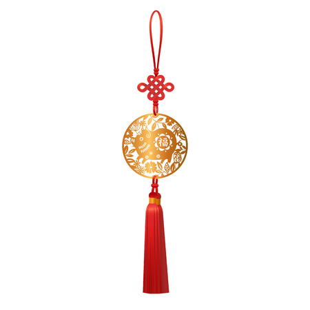 Golden Pendant with Pig and Luck Knot. Chinese New Year traditional Zodiac symbol of 2019 paper cut round design. Hieroglyph translation is Good fortune. Vector isolated illustration. Ilustracja