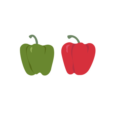 Bell peppers collection. Set of red and green sweet paprika on a white background vector design illustration isolated on white