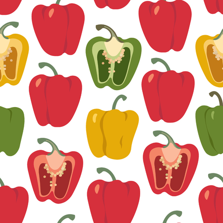 Bell pepper colorful seamless pattern. Red, green, yellow sweet paprika on a white background vector design illustration isolated on white
