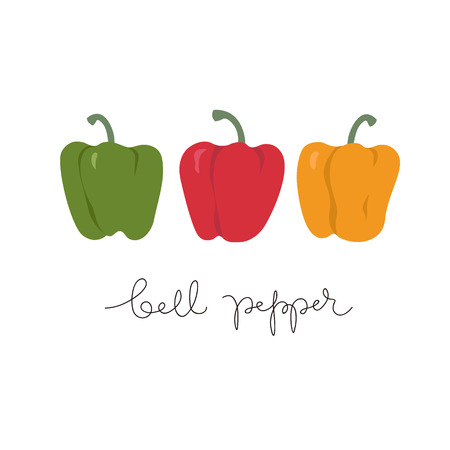 Bell peppers collection. Set of red, green, yellow sweet paprika on a white background vector design illustration isolated on white