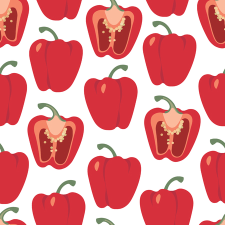 Bell pepper colorful seamless pattern. Red sweet paprika on a white background vector design illustration isolated on white Ilustração