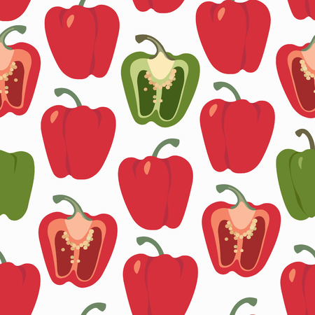 Bell pepper colorful seamless pattern. Red and green sweet paprika on a white background vector design illustration isolated on white
