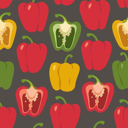 Bell pepper colorful seamless pattern. Red, green, yellow sweet paprika on a black background vector design illustration Ilustração