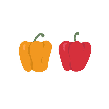 Bell peppers set. Red and yellow sweet paprika on a white background vector design illustration isolated on white Ilustração