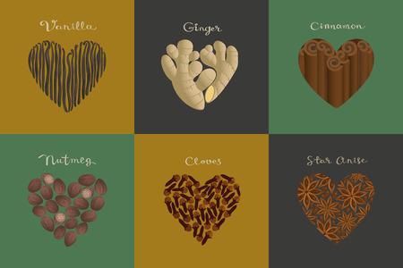 Set of spices in the heart shape.  Vanilla, Ginger, Cinnamon, Nutmeg, Cloves, Star anise isolated vector illustration.