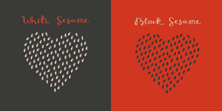 Set of white and black sesame seeds in the heart shape isolated vector illustration.