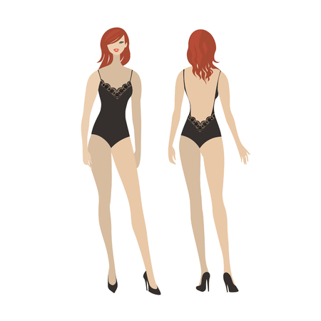 Sexy lady in elegant black lace bodysuit. Front and back view of a women's underwear fashion model. Beautiful girl in lingerie. Ilustração