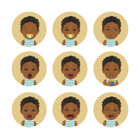Set of African child facial expressions. Collection of Afro American baby emoticons. Cute black skin toddler smiley.