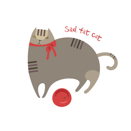 Cute cartoon sad fat cat with food bowl. Furry stripped furry friend character. Disappointed pet's emotional mood. Isolated vector illustration Иллюстрация