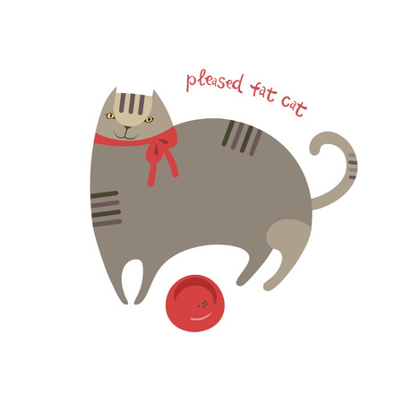 Pleased cute cartoon fat cat with food bowl. Happy furry stripped furry friend character. Pet's satisfied emotional mood. Isolated vector illustration