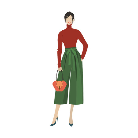 Young stylish girl. Fashion model. 2019 trendy outfit. Vector isolated eps10 illustration
