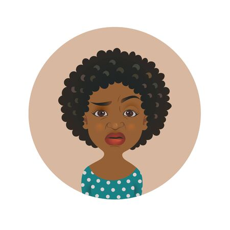 Cute squeamish Afro American woman avatar. Overcritical African girl emoji.  Fastidious skeptical dark-skinned person facial expression. Isolated vector illustration
