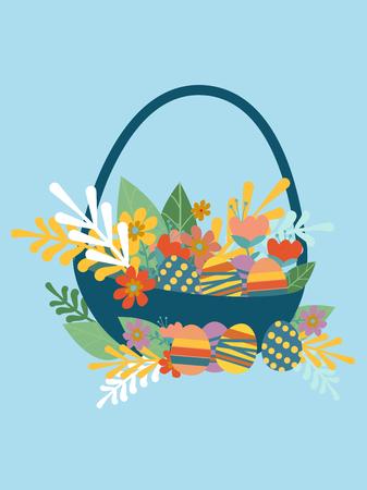 Easter greeting card, Easter basket.