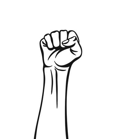 Raised hand with clenched fist. Vector illustration isolated on white background. Ilustración de vector