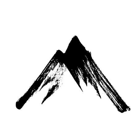 Mountains, rocky peaks. Abstract minimalistic style. One-stroke drawing. Hand-drawn by brush. Vector Illustration