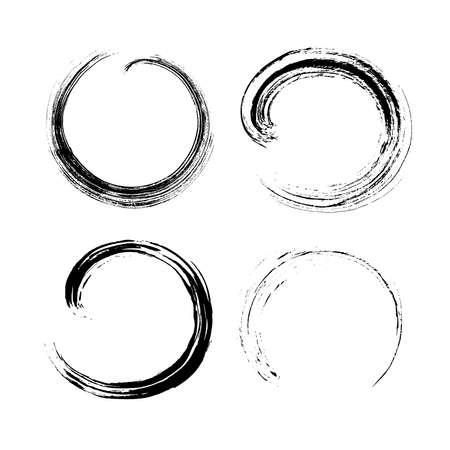 Set of round Ink stroke. Shape, frame, background isolated on white. Grunge splatter dirt, stain, spray, splash with drops blots. Hand-drawn by brush