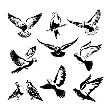 A set of ten doves are flying. Logo template or icon isolated symbol of freedom of the world or postal delivery and tattoo. Vector illustration
