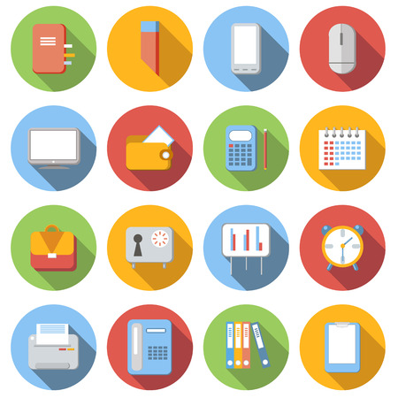 flat screen: Business flat icons set with long shadow, on white background