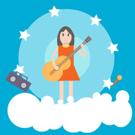 bard: Girl with guitar flat illustration on blue background Illustration