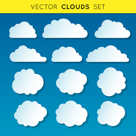 Vector clouds set, white linear gradient clouds with shadow on blue background