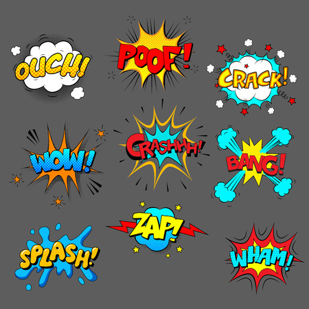Comic sound effect set, colored pictures with text on grey background
