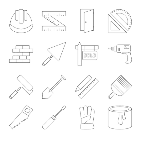 Building line icons set, thin black contour on white background