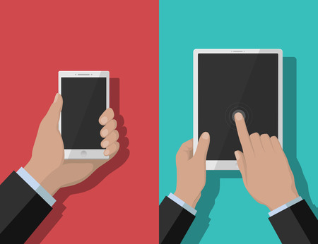 tabletpc: Smartphone and tablet-pc illustration, device in hands on red and blue background