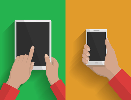 tabletpc: Smartphone and tablet-pc illustration, device in hands on green and yellow background Illustration