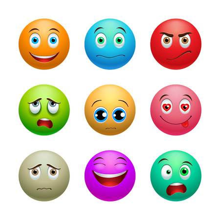 enraged: Smile set, colored balls with emotions on white background