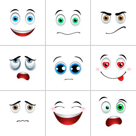 blue face: Emotions set, white squares with emotional faces Illustration