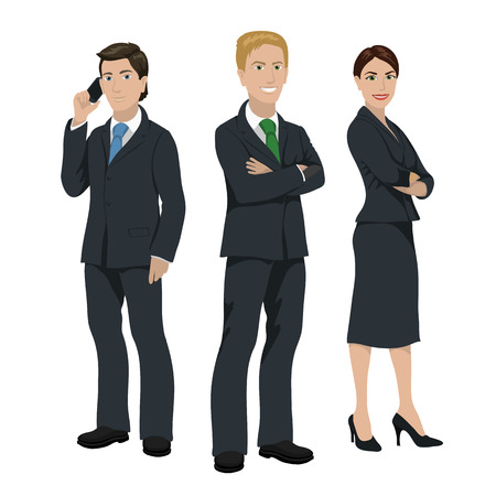 three persons: Business people illustration, three persons in official suits, isolated on white