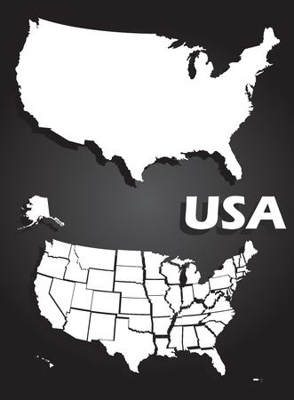 geteilt: USA Karte illustration, solide und in Staaten aufgeteilt, auf schwarzem Hintergrund Illustration