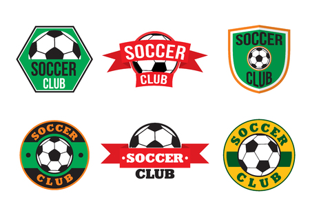 soccer club: Soccer club logos set, colored emblems on white background Vectores