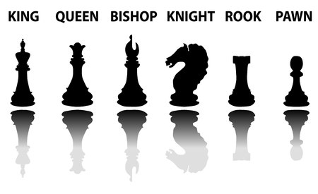 strategical: Chess pieces silhouette set, black silhouettes with reflection and name on white background