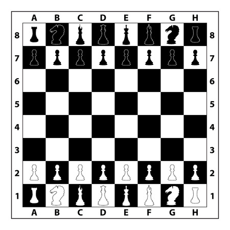 alignement: Chessboard illustration, board with set chess pieces on it