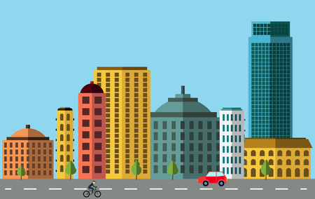bulding: City panorama, colored city scape with buildings and street Illustration