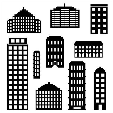 urban building: Urban building silhouette set, black images of city structures isolated on white