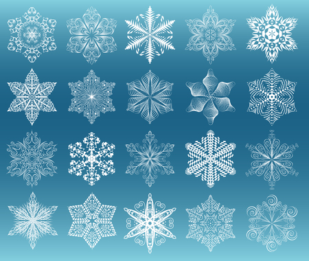 looped shape: Snowflake set, white images on dark cyan gradient background